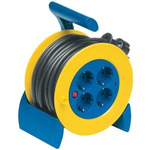 Mini Kabeltrommel 4-fach 15 m H05VV-F 1,5 mm2 blau/gelb