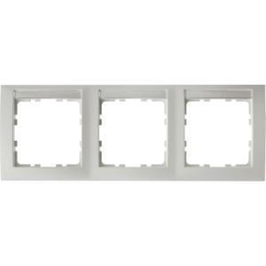 3-fach Rahmen mit Beschriftungsfeld S.1 - polarweiß/ matt - waagrecht