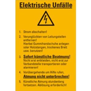 Aushang Elektrische Unfälle Kunststoff 300 x 200 mm
