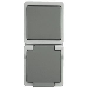 Feuchtraum Universalschalter/Steckdose grau AP