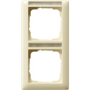 2-fach Abdeckrahmen beschriftbar senkrecht für Standard 55 cremeweiß