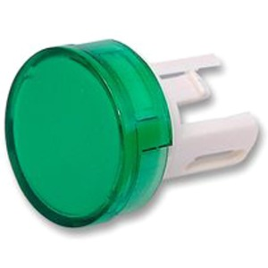 Pushbutton illuminated round green (for incandescent lamp)