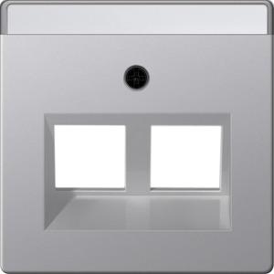 2-fach Abdeckung beschriftbar Modular Jack 30° für E22 Aluminium