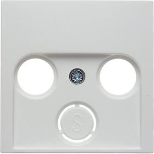 Zentralstück für Antennen-Steckdose 2- und 3-Loch Glas polarweiß