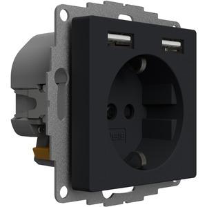 Schuko Steckdose mit 2 USB-Anschlüssen anthrazit matt 12W 2,4A