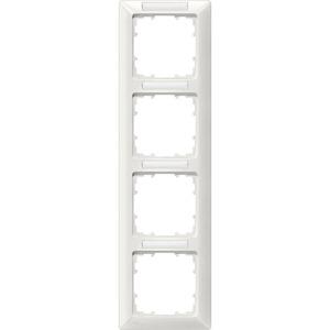 4-fach Rahmen mit Textfeld DELTA line titanweiß 293x80mm senkrecht