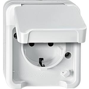 SCHUKO-Steckdose mit erhöhtem Berührungsschutz polarweiß AQUASTAR