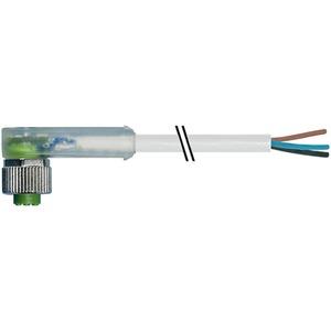 M12 Buchse gewinkelt LED mit freiem Leitungsende PVC-OB 4x0,34 grau 5m