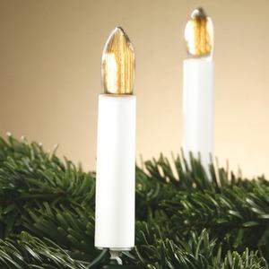 20-teilige Riffelkerzenkette für außen Schaft weiß Kerze klar
