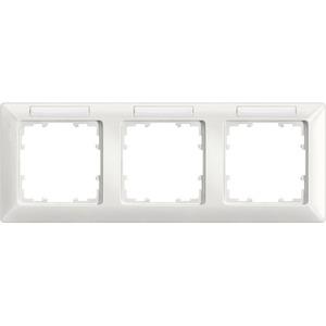 3-fach Rahmen mit Textfeld DELTA line titanweiß 222x80mm waagrecht