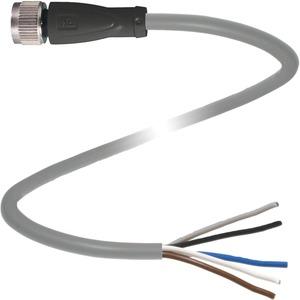 Kabeldose M12 gerade Bauform 5-polig 10 m PUR Kabel offenes Ende