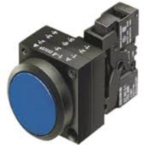 Leuchtdrucktaster 22mm rund Kunststoff Blau Druckknopf flach mit Halter 1S / 1Ö