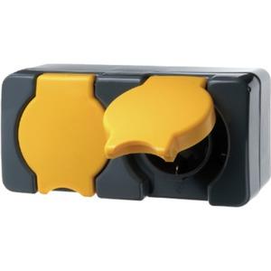 SCHUKO-Doppelsteckdose mit Klappdeckel ISO-Panzer - dunkelgrau/gelb