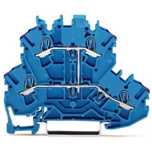 4-Leiter Doppelstockklemme Durchgangsklemme 5,2 mm blau