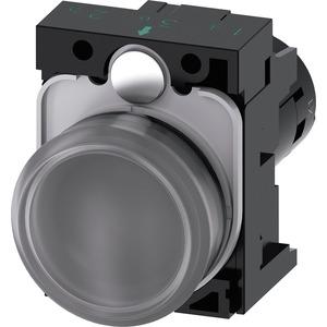 Leuchtmelder 22mm rund KST klar mit rt-grn-ge LED Linse 230 V AC