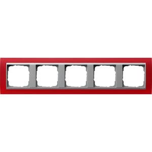 5-fach Abdeckrahmen für Aluminium Event Opak rot