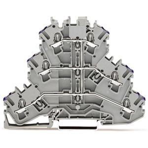 6-Leiter Dreistockklemme Durchgangsklemme 0,25 - 2,5 mm² grau