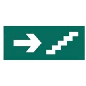 Piktogramm [QOUTE]Fluchtweg Treppe selbstklebend B 130mm Notleuchte G5