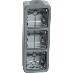 Feuchtraum - Aufputzgehäuse 3-fach vertikal Plexo 55 grau