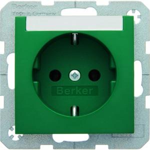 Berker SCHUKO-Steckdose mit Beschriftungsfeld S .1/B.3/B.7 - grün/ glänzend