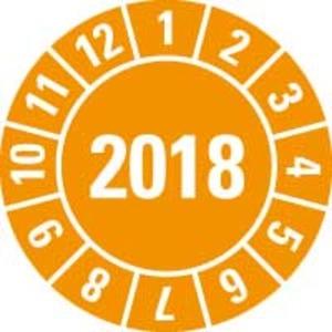 Jahresprüfplakette 2018 orange PVC-Spezial Ø10mm 500/Rolle