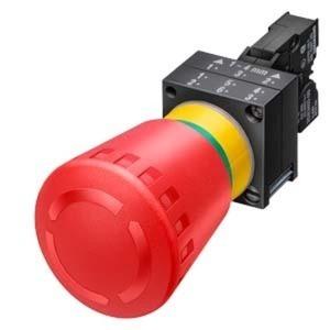 Not-Halt Pilzdrucktaster 22mm rund Kunststoff rot 40mm verrastend Drehentriegel.