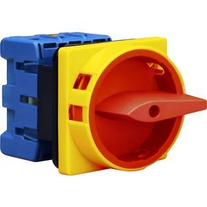 Hauptschalter 3polig 4-Loch-Befestigung Sperrvorrichtung rot-gelb