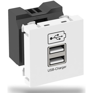 USB-Ladegerät mit zwei USB Typ A Buchsen 1x2100mA oder 2x1050mA reinweiß RAL9010