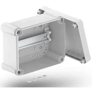 Leergehäuse X 16 mit Hutprofilschiene 241x191x126mm grau / transparent