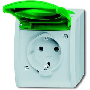 Aufputz Steckdose mit grüner Klappdeckel