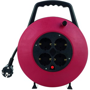 Kabeltrommel 10 m H05VV-F 3G1,5 schwarz-rot