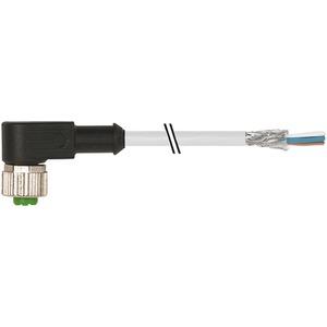 Buchse M12 gewinkelt geschirmt offenes Leitungsende 8 x 0,25 GRAU 10m