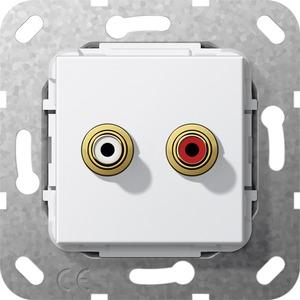 Cinch Audio Kabelpeitsche Einsatz für System 55 reinweiß