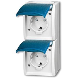 Aufputz Steckdose senkrecht 2-fach mit Klappdeckel / Berührungsschutz