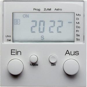 Berker Zeitschaltuhr mit Display S.1/B.3 /B.7 Glas polarweiß glänzend