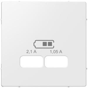 Zentralplatte für USB Ladestation-Einsatz weiß glänzend System M