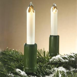 20-teilige Schaftkerzenkette für außen Schaft grün Kerze elfenbein