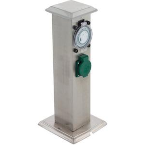 PARK T Garten-Steckdosensäule edelstahl IP44 mit Zeitschaltuhr