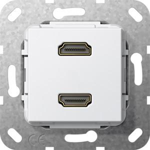 HDMI 2-fach Gender Changer Einsatz für System 55 reinweiß