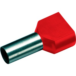 Isolierte Zwillings-Aderendhülse 2x1,0mm²/8mm rot