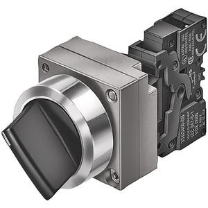 Knebelschalter 22mm rund Metall schwarz Knebel kurz 3 schaltstellungen I-O-II