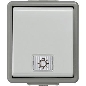 DELTA fläche IP44 AP dunkelgrau/hellgrau Taster 10A 250V 66x75mm