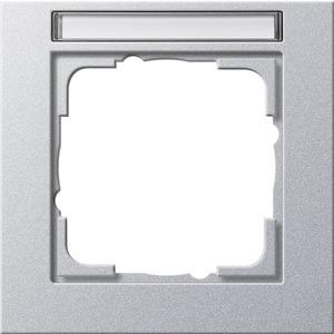1-fach Abdeckrahmen beschriftbar für E2 Aluminium