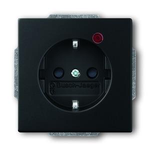 Steckdose future linear 2-polig mit Überspannungsschutz schwarz matt