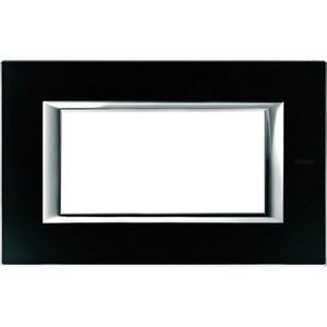 Rahmen rechteckig 4 Module Kompaktinstallation Glas Nachtschwarz