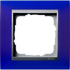 1-fach Abdeckrahmen für Aluminium Event Opak blau