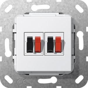 Lautsprecher Anschluss 2-fach Einsatz für System 55 reinweiß