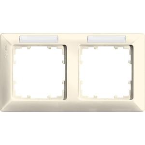 2-fach Rahmen mit Textfeld DELTA line elektroweiß 151x80mm waagrecht
