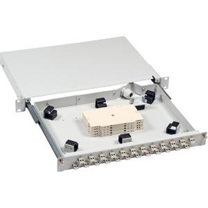 Spleißbox 24 LCD-Front 1HE ausziehbar auf Teleskopschiene