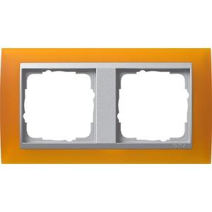 2-fach Abdeckrahmen für Aluminium Event Opak Bernstein